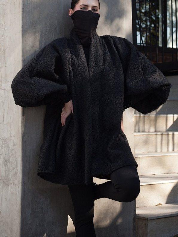 Erre Textured Swing Coat Black Hands on Hips