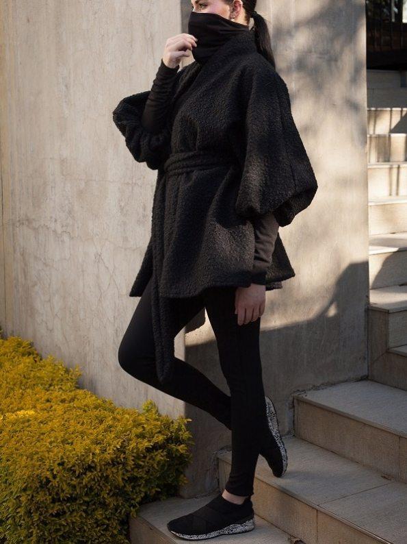 Erre Textured Swing Coat Black Side 3