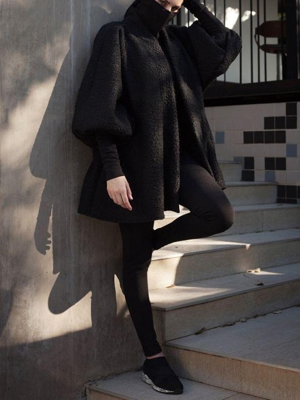 Erre Textured Swing Coat Black Side
