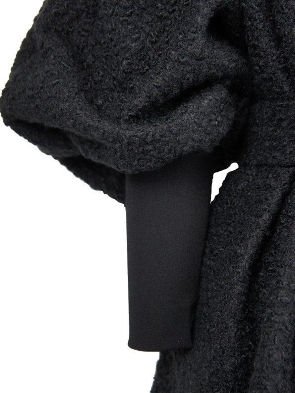 Erre Textured Swing Coat Black Sleeve