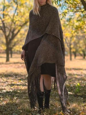 grey mohair shawl with tassels on model made in South Africa