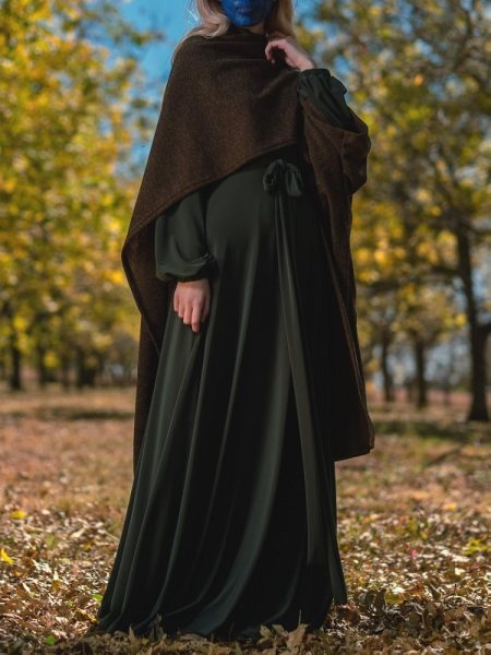 Black knitted wrap over green maxi dress South Africa
