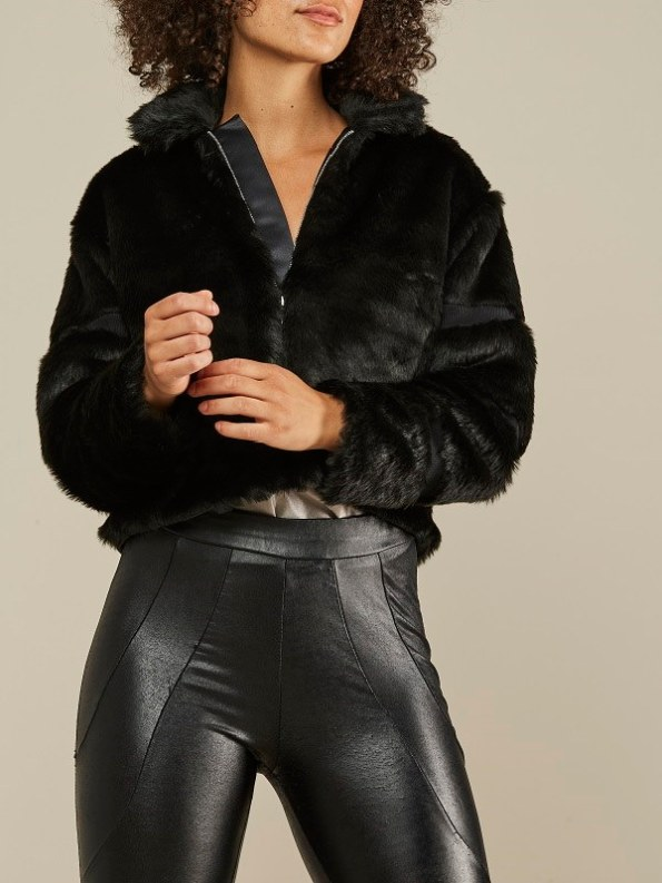 Mareth Colleen Faux Fur Moskow Jacket Black Front