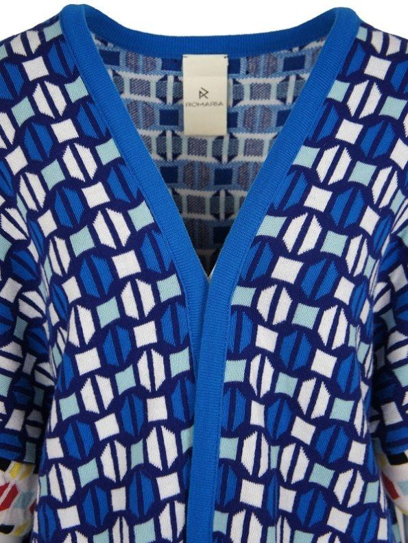 Romaria Short Knitted Kimono Blue Front Detail