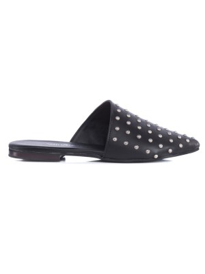 Black leather mules shoes with silver studs South Africa