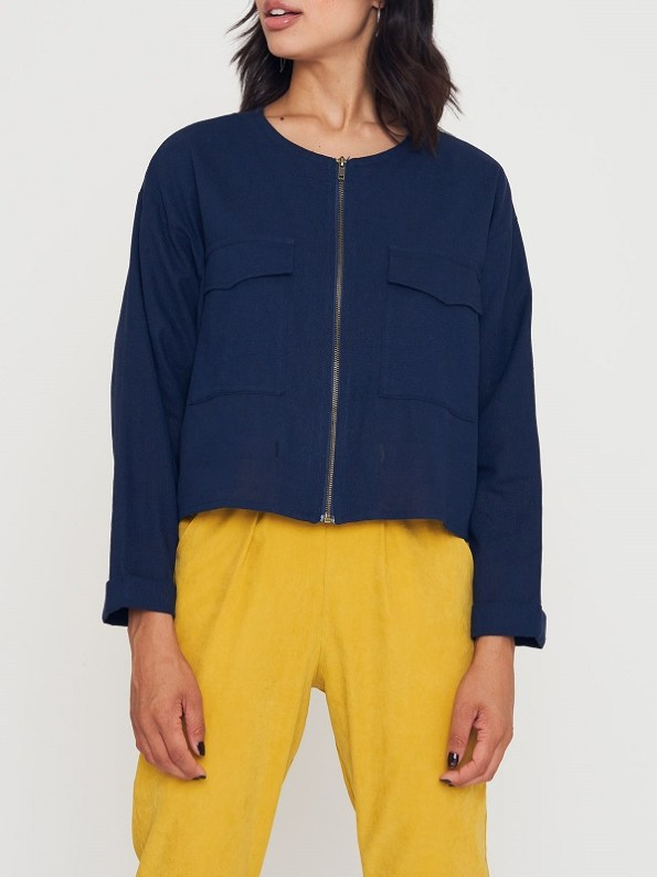 Good Wearwithanything Jacket Navy Linen Blend Cropped