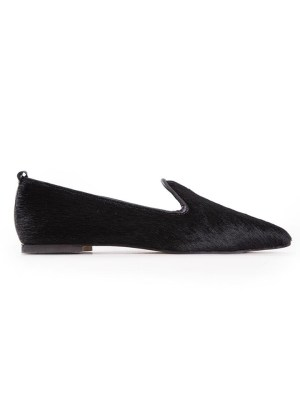 Loafers for women in black calf hair flat shoes from South Africa