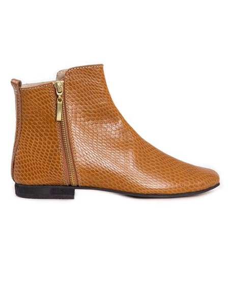 Ladies ankle boots tan snake print from South Africa