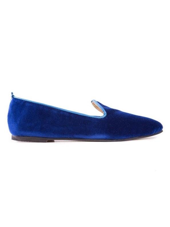 House of Cinnamon Sinead Velvet Loafers Royal Blue