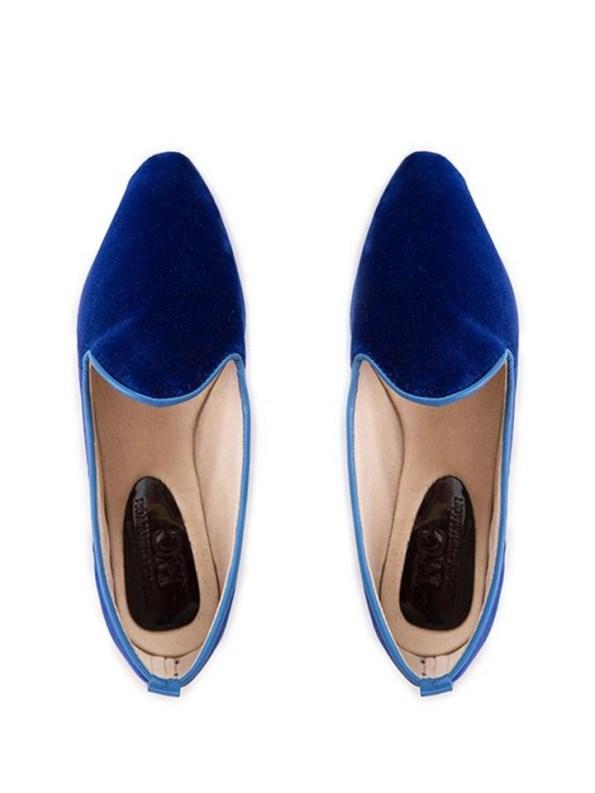 House of Cinnamon Sinead Velvet Loafers Royal Blue Pair