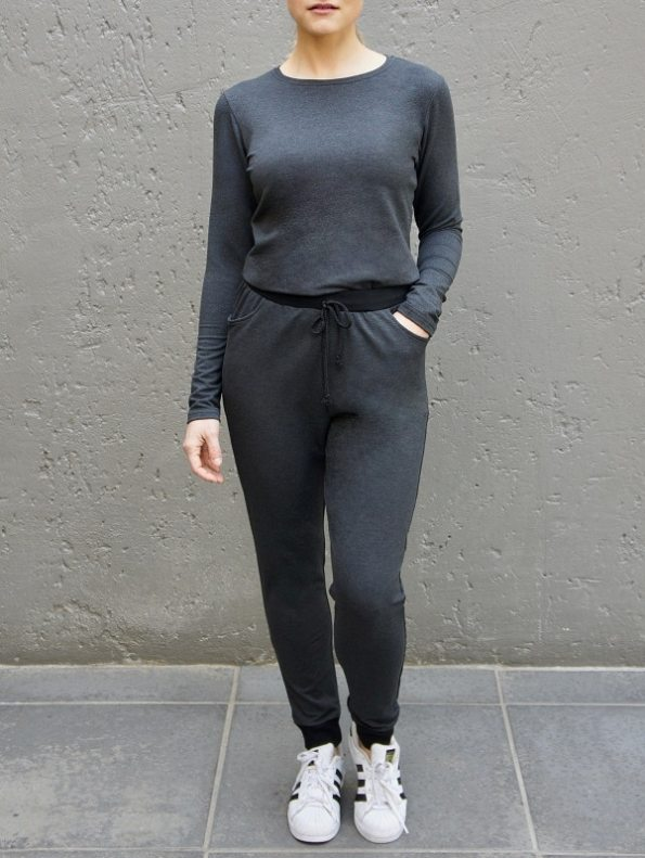 JMVB Athleisure Long Sleeve Top and Sweatpants Charcoal
