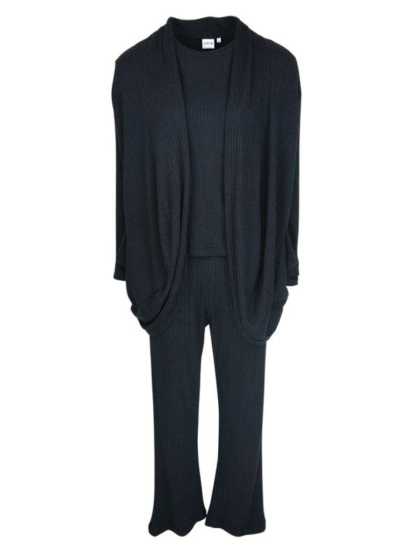JMVB Lux Loungewear Set with LS Top and Cardigan Black