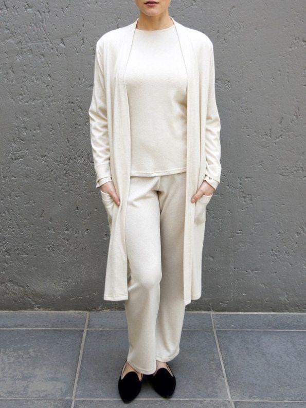 JMVB Luxe Loungewear Long Sleeve Top Cardigan and Pants Beige Pockets