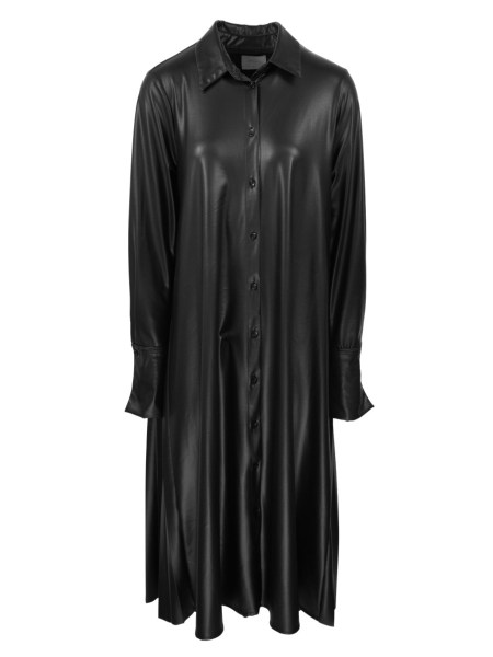 Vegan Leather Pleated Shirt Dress Black South Africa