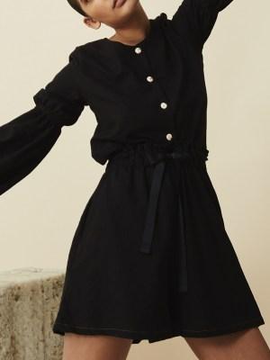 black ladies hemp shorts with black hemp blouse South Africa