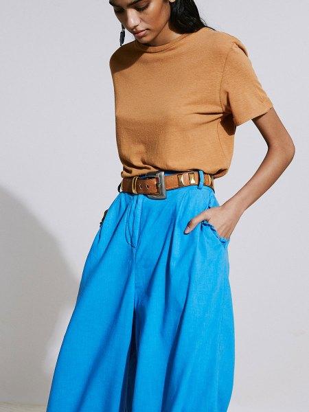 blue hemp wide leg pants womens South Africa