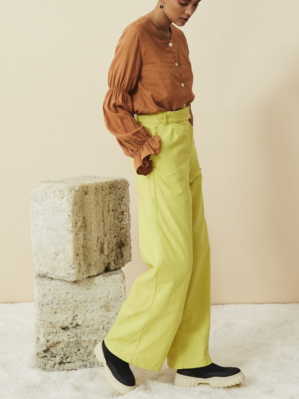 Asha Eleven High Waisted Wide Leg Hemp Pants Lemon with Outlander Blouse Chesa
