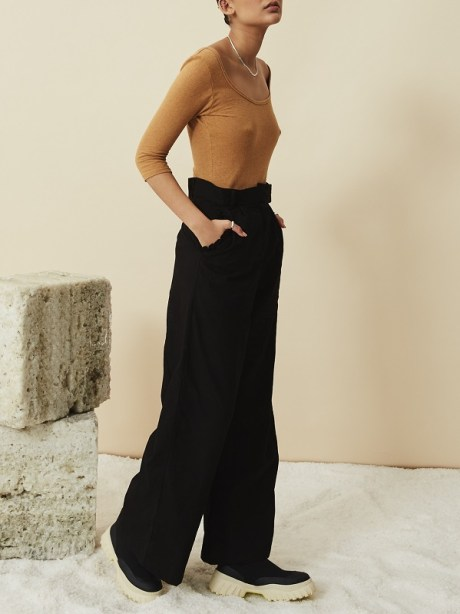 High Waisted Wide Leg Linen Pants Black with Tan Hemp Bodysuit