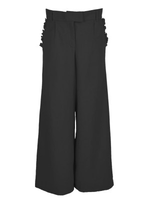 High Waisted Wide Leg Hemp Pants Black