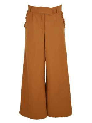High Waisted Wide Leg Linen Pants Brown