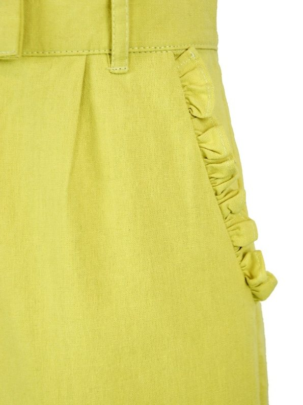 Asha Eleven High Waisted Wide Leg Linen Pants Lemon Detail