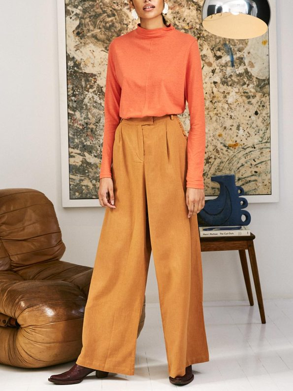 Asha Eleven High & Wide Pants Chesa with Happy Turtles Top 2