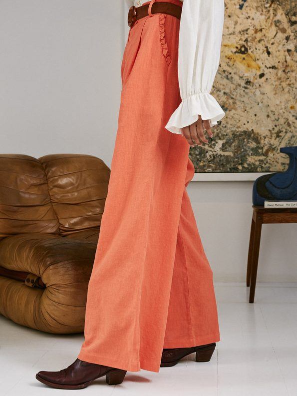 Asha Eleven High and Wide Pants Coral 1