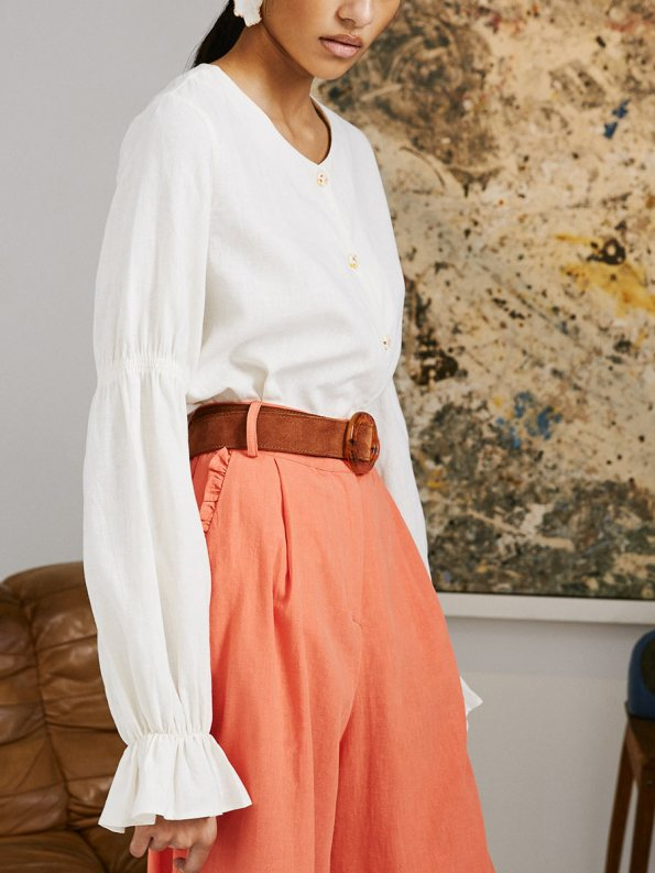 Asha Eleven High and Wide Pants Coral and Outlander Blouse 4