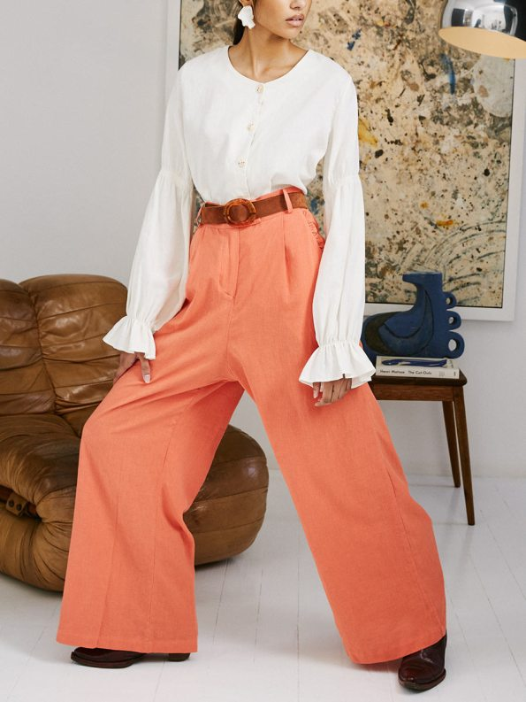 Asha Eleven High and Wide Pants Coral and Outlander Blouse 5