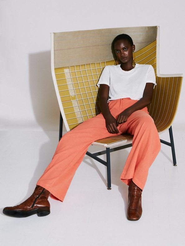 Asha Eleven High and Wide Pants Coral and White T-shirt 3