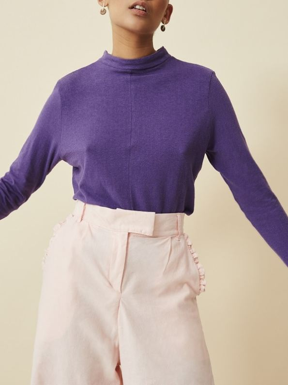 Asha Eleven Long Sleeve Top Petunia with High Waisted Wide Leg Pants Rose Water