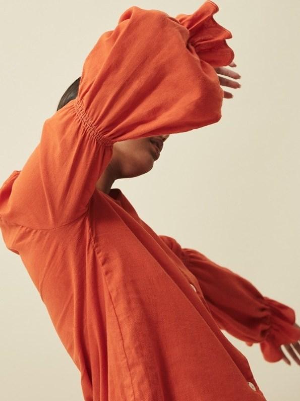 Asha Eleven Outlander Blouse Tangerine Sleeve