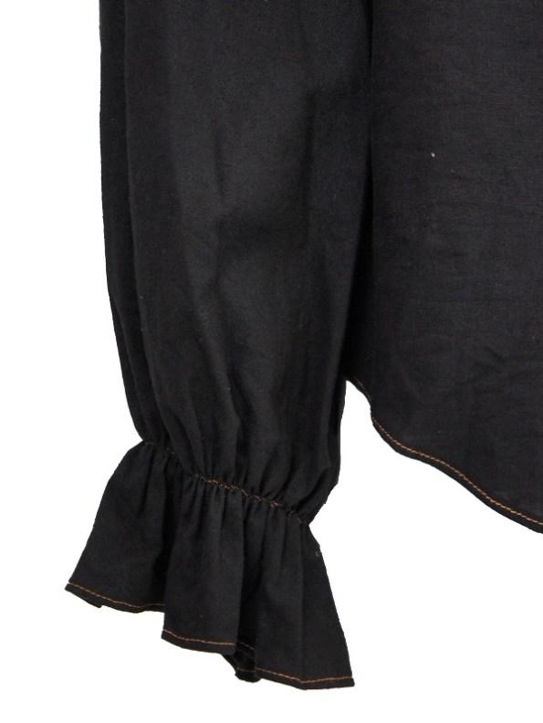 Asha Eleven Outlander Hemp Blouse Black Sleeve
