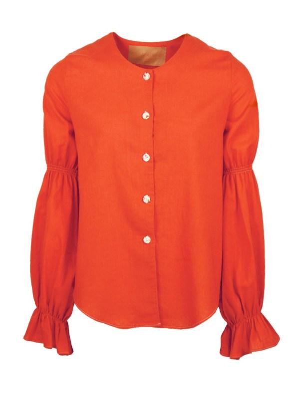 Asha Eleven Outlander Hemp Blouse Tangerine