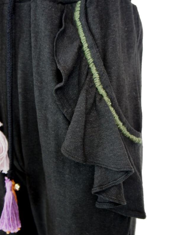 Asha Eleven Pumzika Hemp Jogger Pants Black Pocket Detail