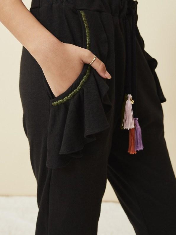 Asha Eleven Pumzika Hemp Jogger Pants Black Pocket
