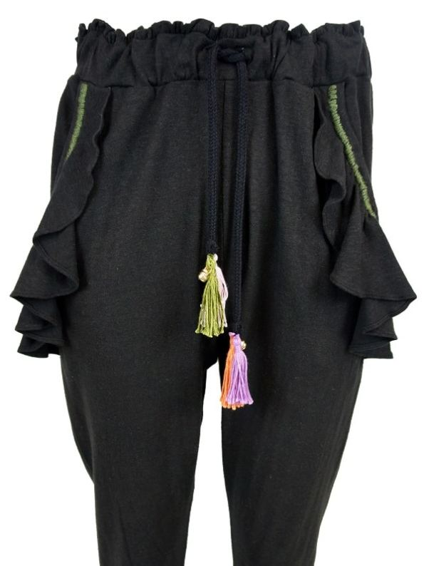 Asha Eleven Pumzika Hemp Joggers Pants Black Cropped