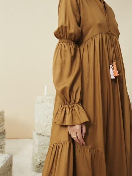 brown long dress maxi dress empire line made in South Africa