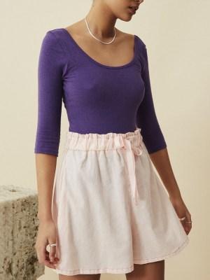 pink hemp ladies shorts with purple bodysuit South Africa