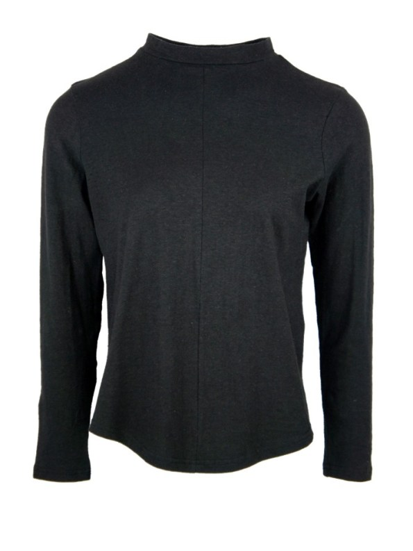 Asha Eleven Turtle Neck Hemp Long Sleeve Top Black