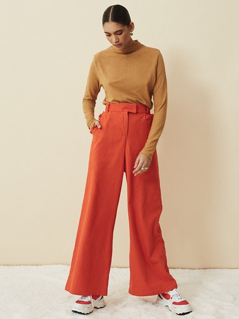 Asha Eleven Turtle Neck Hemp Top Chesa with High Waisted Wide Leg Pants Tangerine
