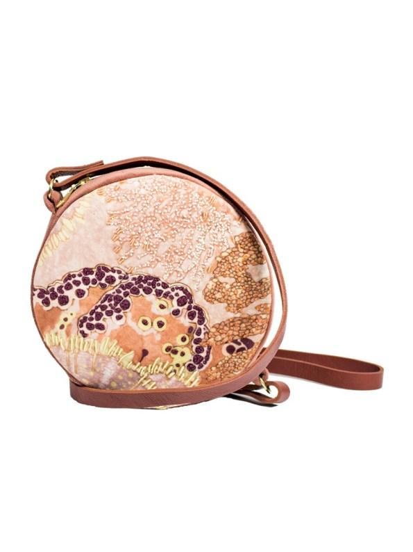 Aureum Oceanum Embroidered Round Bag Coral