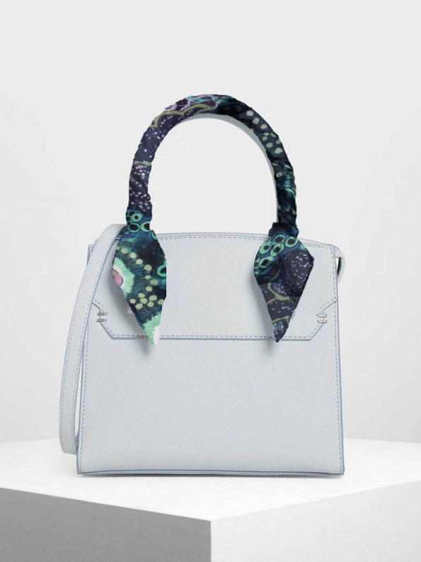 Bag with Silk Twilly Scarf on Handle Oceanum Azure