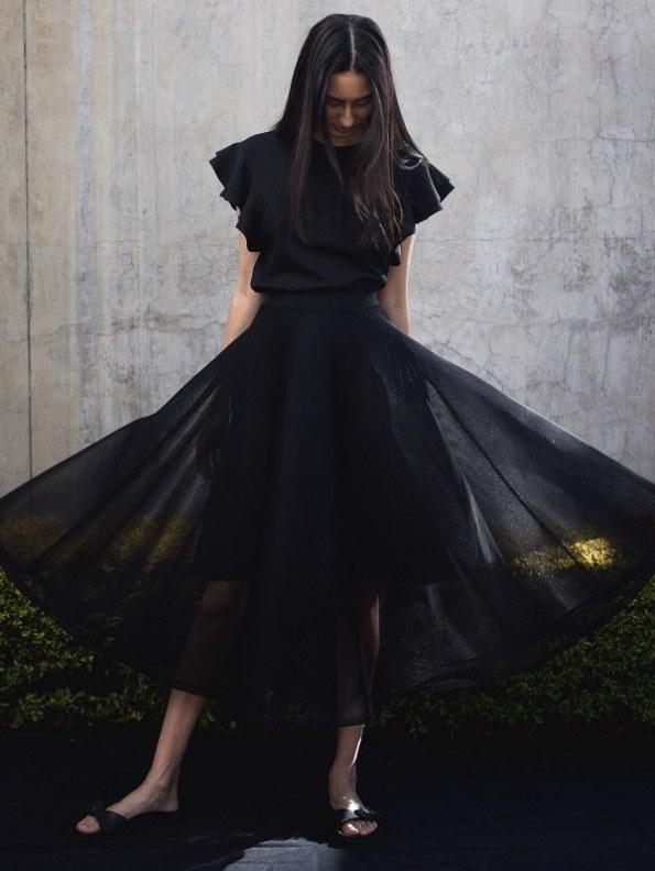 Erre Arch Circle Mesh Skirt Black