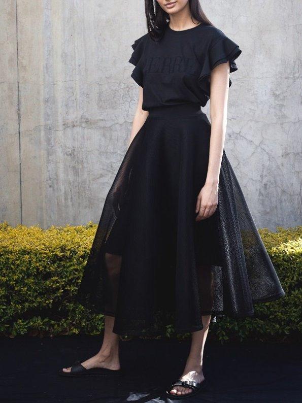 Erre Arch Circle Skirt Mesh Black