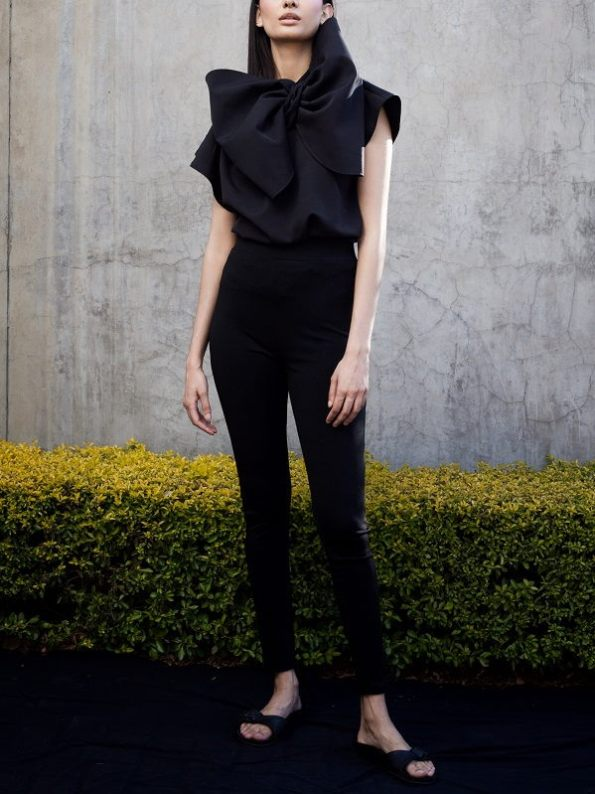 Erre Bend Black Bow Top with Skinny Pants
