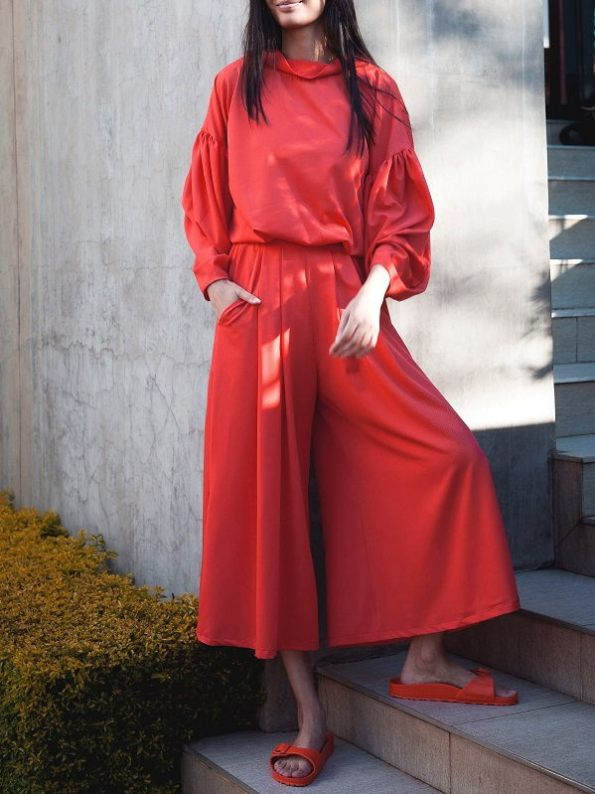 Erre Flex Red Sweater with Matching Red Culottes