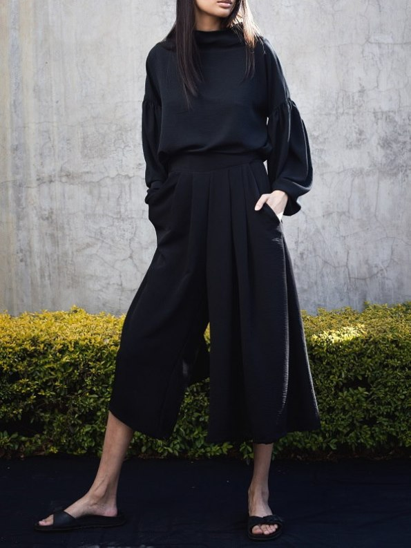 Erre Flow Black Culottes with Flex Sweater Front