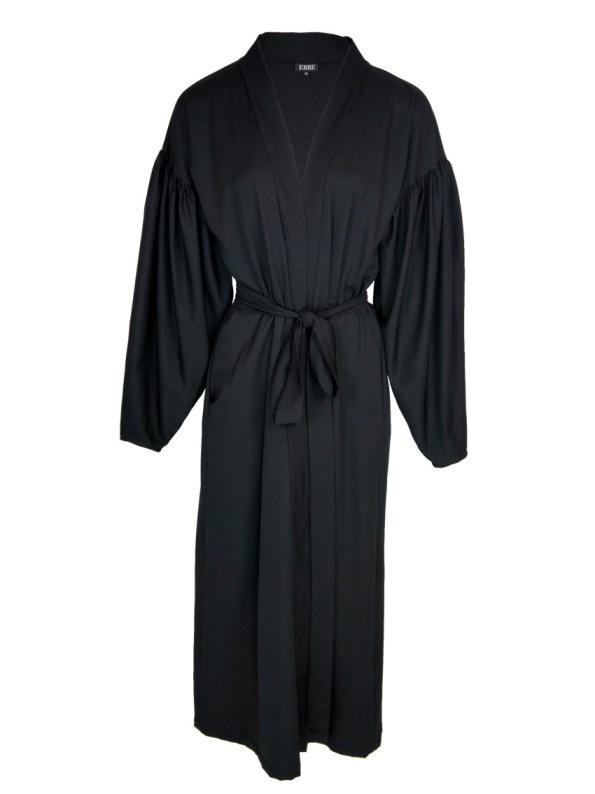Erre Gather Coat Coverup Black