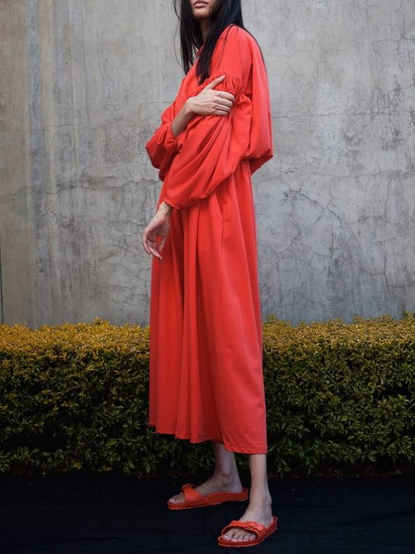 Erre Red Flex Sweater with Matching Culottes Side